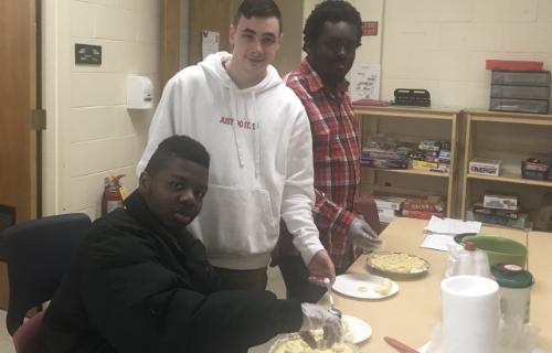 Students preparing the Banana Cream Pie