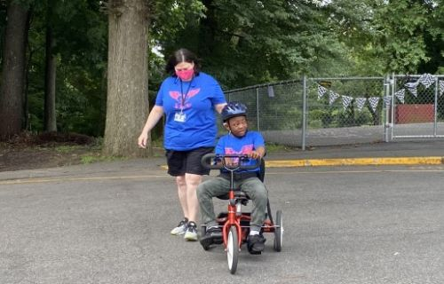 Staff and student biking in the Tappan 500 circle.