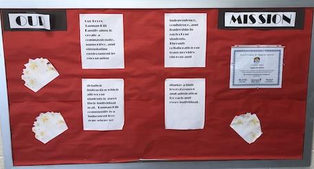mission statements on a classroom bulletin board