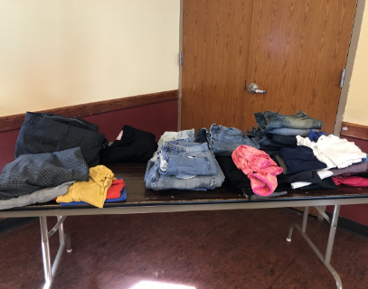clothing donations on the table