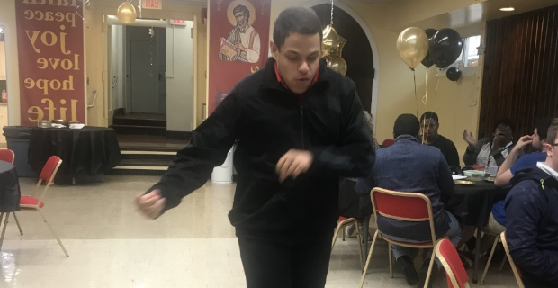 Student dancing up a storm