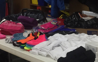 Donations on the table to sort