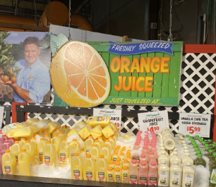 Fresh Orange Juice shelf in Stew Leonard's store