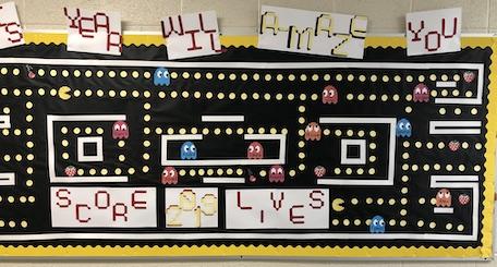 Ghostbusters-themed classroom bulletin board