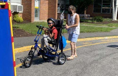Students biking.