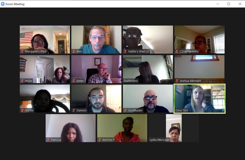 Zoom screen of teachers in online staff training