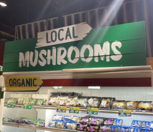 Mushroom shelf in Stew Leonard's store