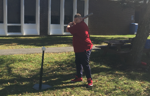 Batter up, Student prepares to swing