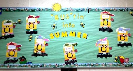 summer-themed classroom bulletin board