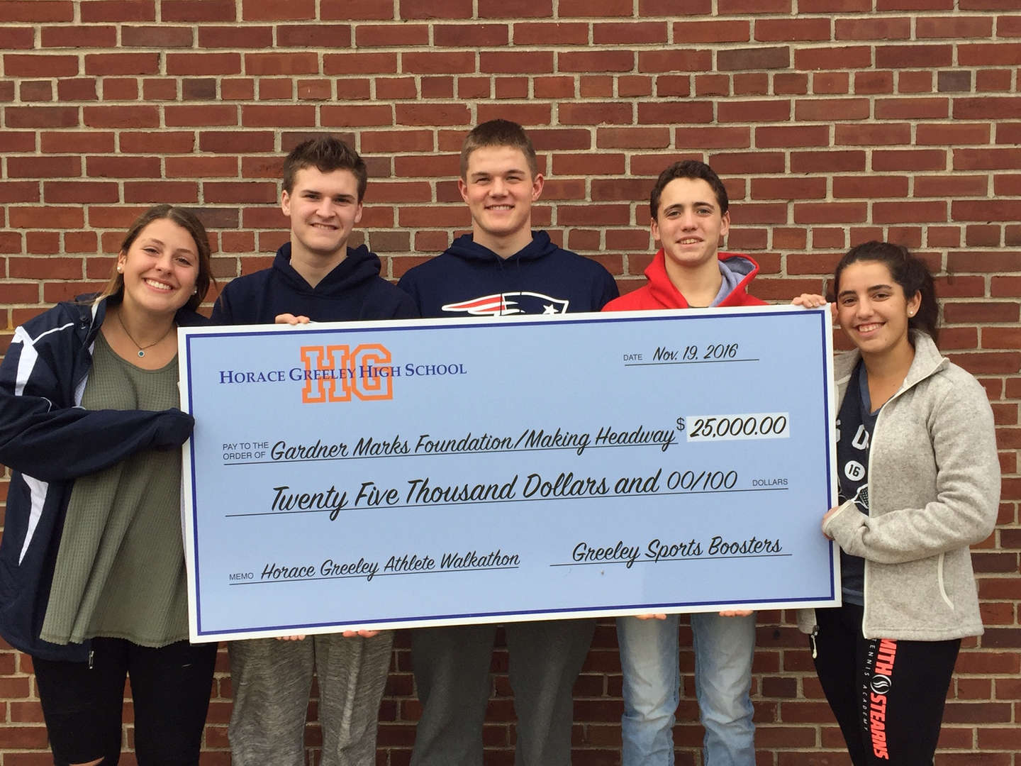 Horace Greeley students raised $25,000 for the Gardner Marks Foundation an organization committed to raising funds for Leukemia research.