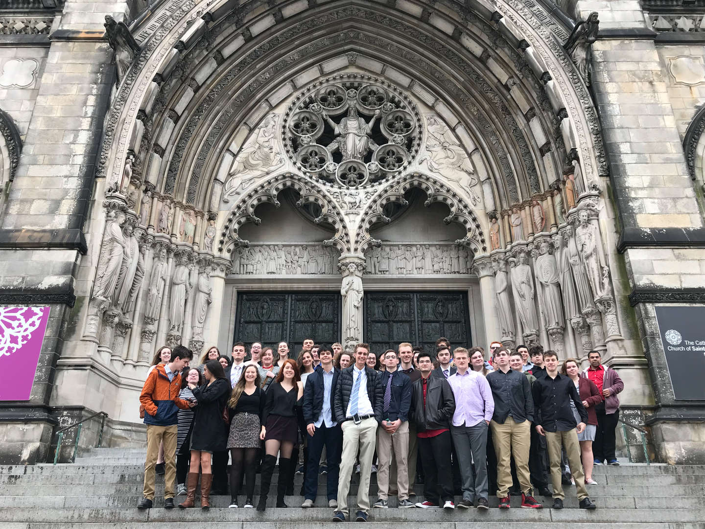 Students in front of a cathedral