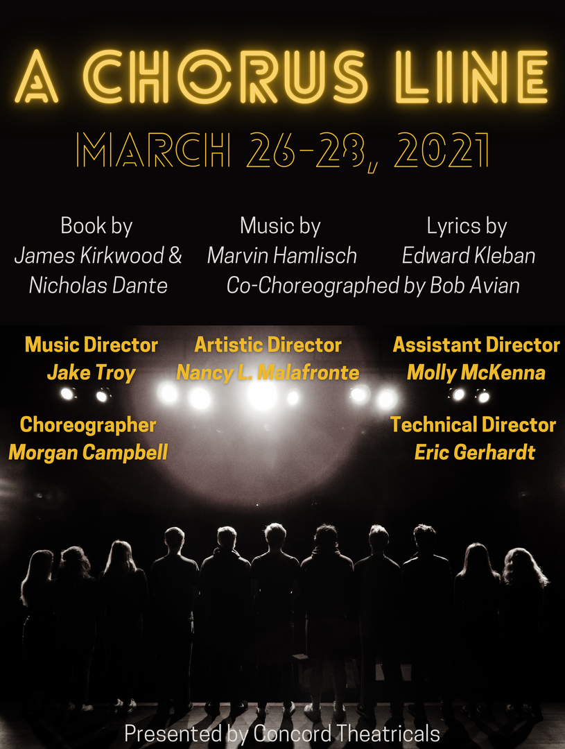 A Chorus Line flyer with students on stage