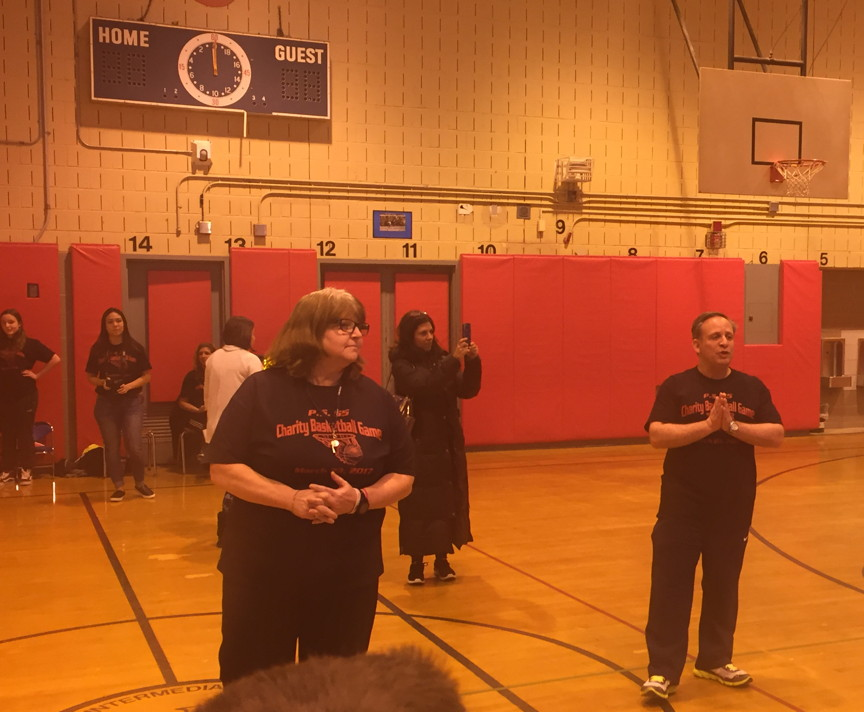 Ms. Fishman and Mr.Giordano addressing the crowd