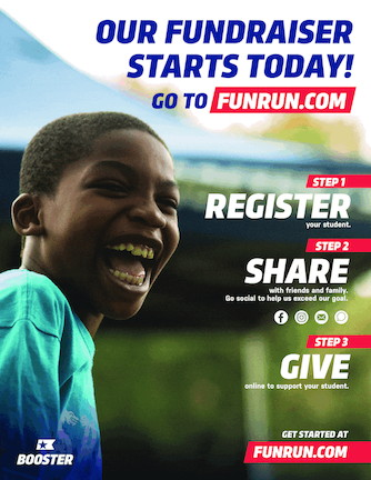 smiling boy announcing first day of our FUNRUN.com fundraiser