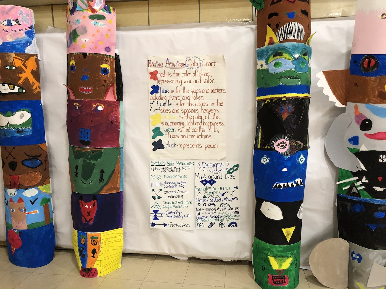 totem poles made by the students