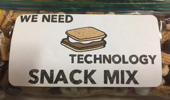 Sign on a snack mix