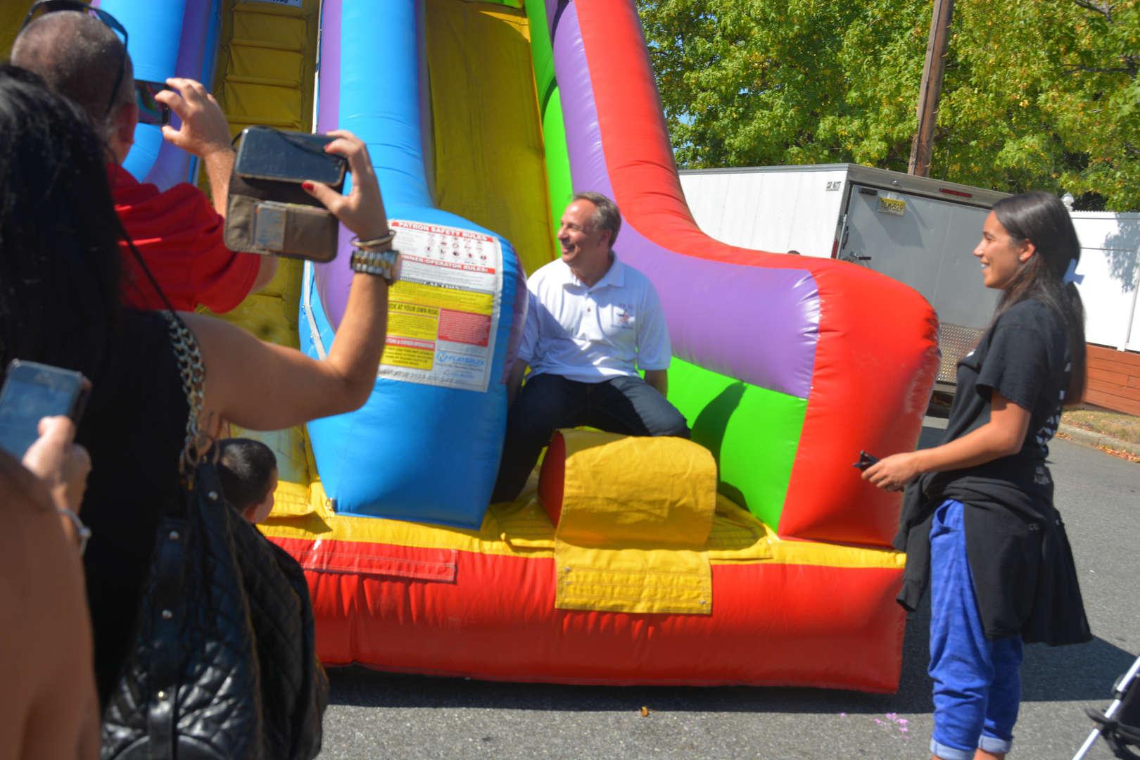 Mr. Giordano coming down the big slide