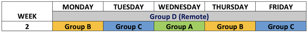 schedule of week 2 Remote Learning