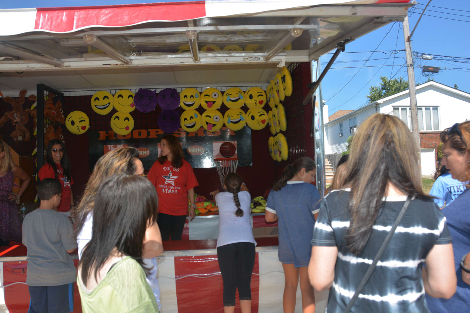Students at a game booth