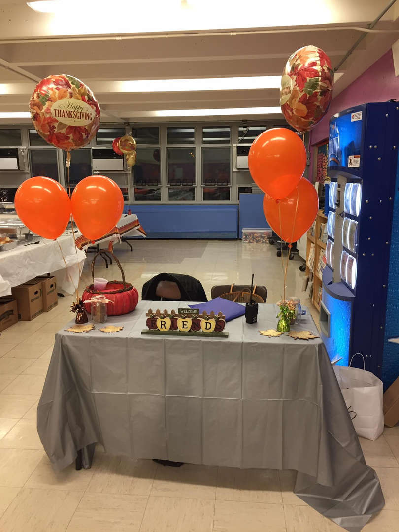 tables decorated with balloons