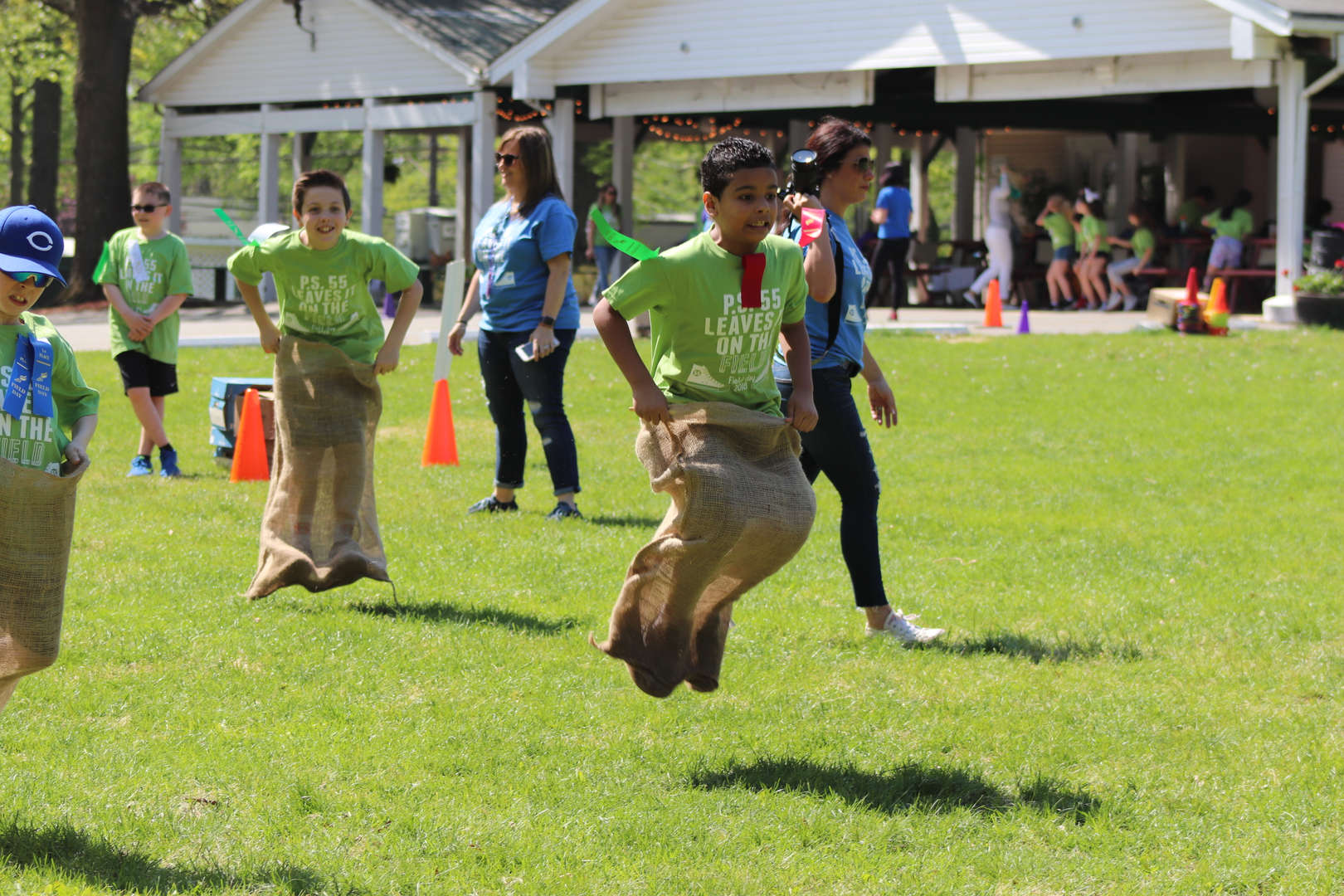 a student jumping in his sack