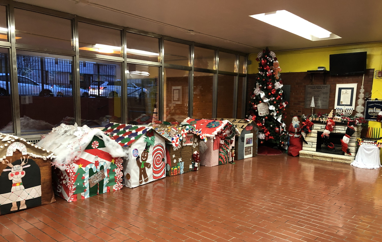 Our UAU students created holiday houses in the school lobby!