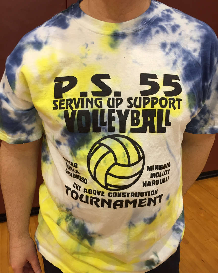 a tee shirt saying Serving Up Support Volley Ball