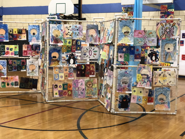 a divider with different types of art on each section