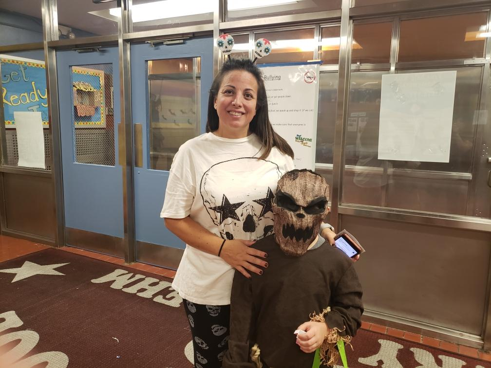Mrs. Pascale and a student in costume