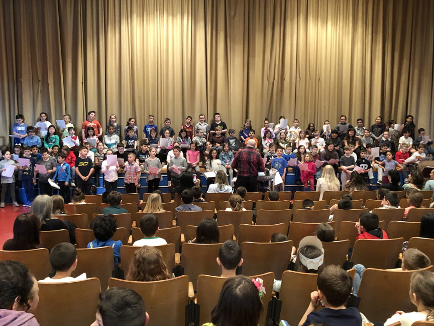another view of the third graders singing