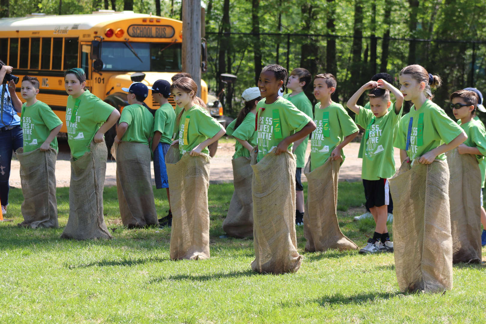 children in a sack race