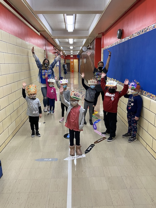 """Pre K waving """"Hi"""" on the 100th day of school!"""