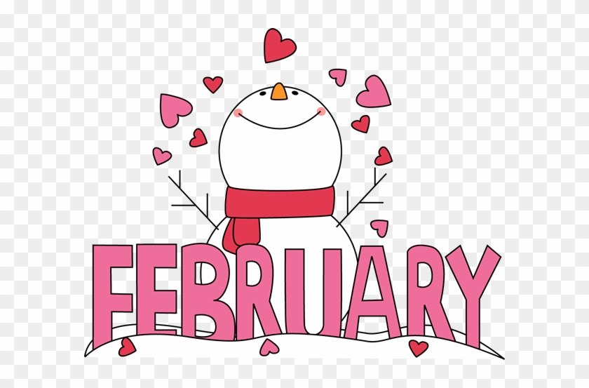 A picture of the word February with a snowman and hearts