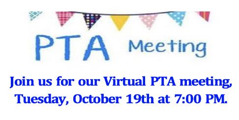 PTA Meet 10/19 at 7 PM