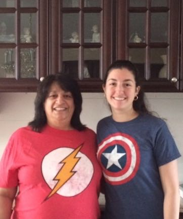 two paras, mother and daughter, wear their superhero tees