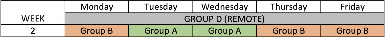 Week 2 Schedule. Week of April 19, 2021