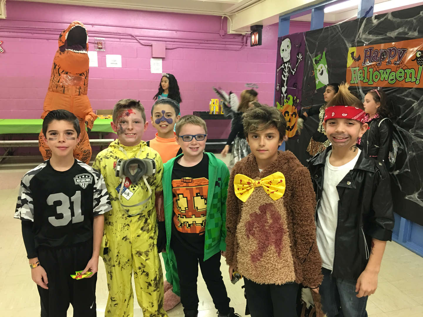 six boys in costume