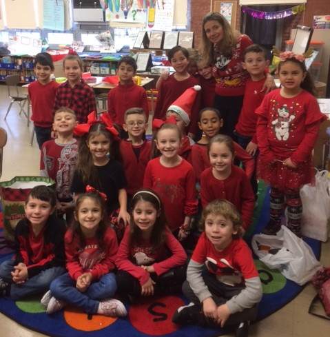 another class all dressed in red!