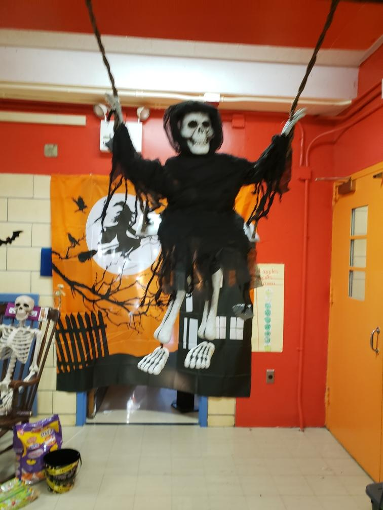 a spooky decoration in the hall