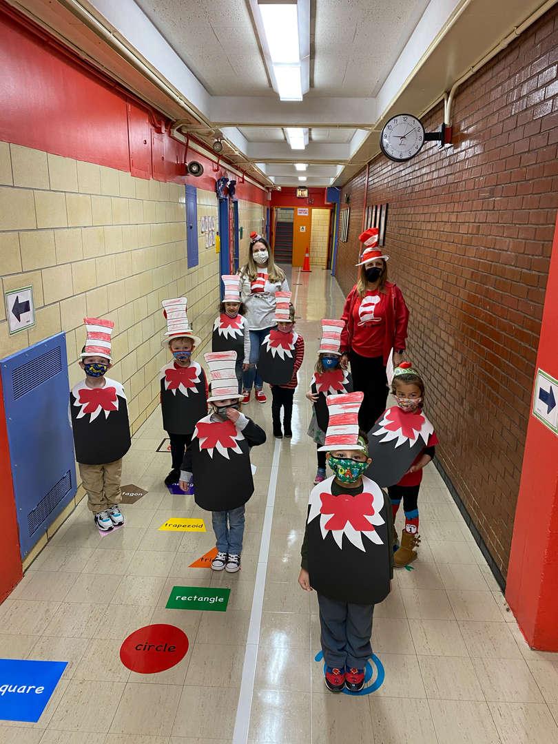 PreK Students dressed like Dr. Seuss