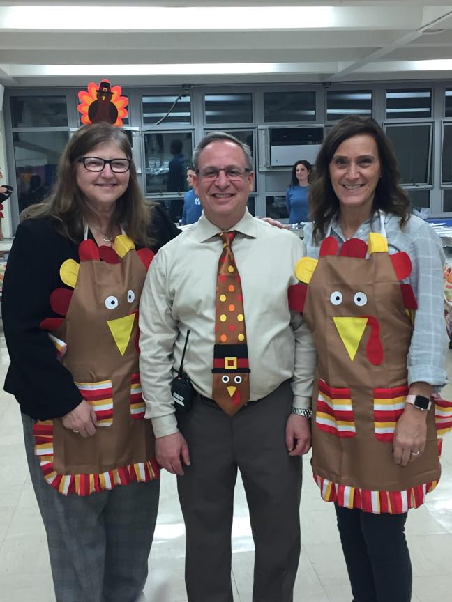 Mrs.Fishman, Mr.Giordano & Mrs.Dipadova ready to greet the families