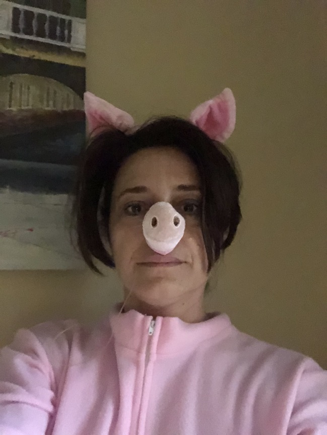 Here is a teacher dressed like a pink pig