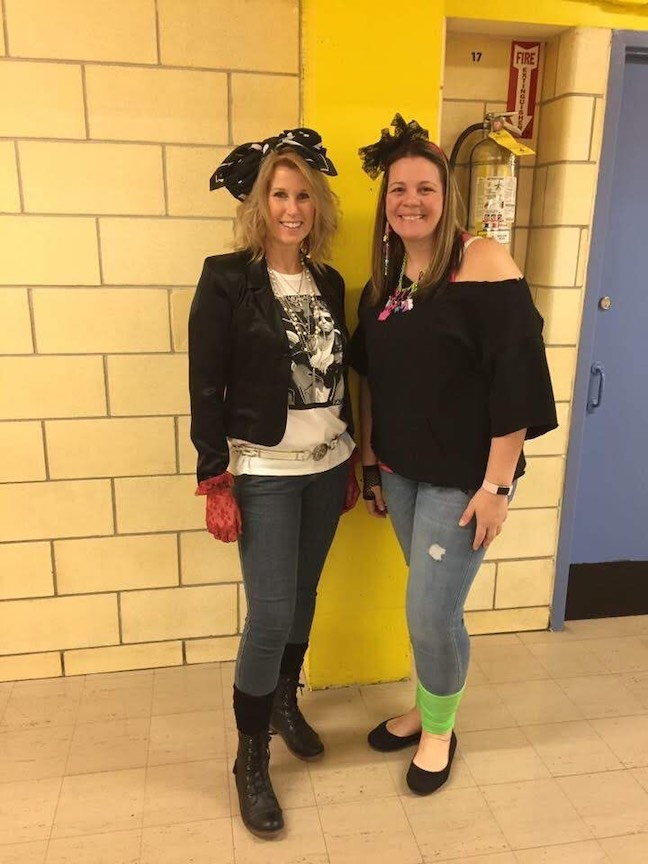 2 teachers looking like bike chicks
