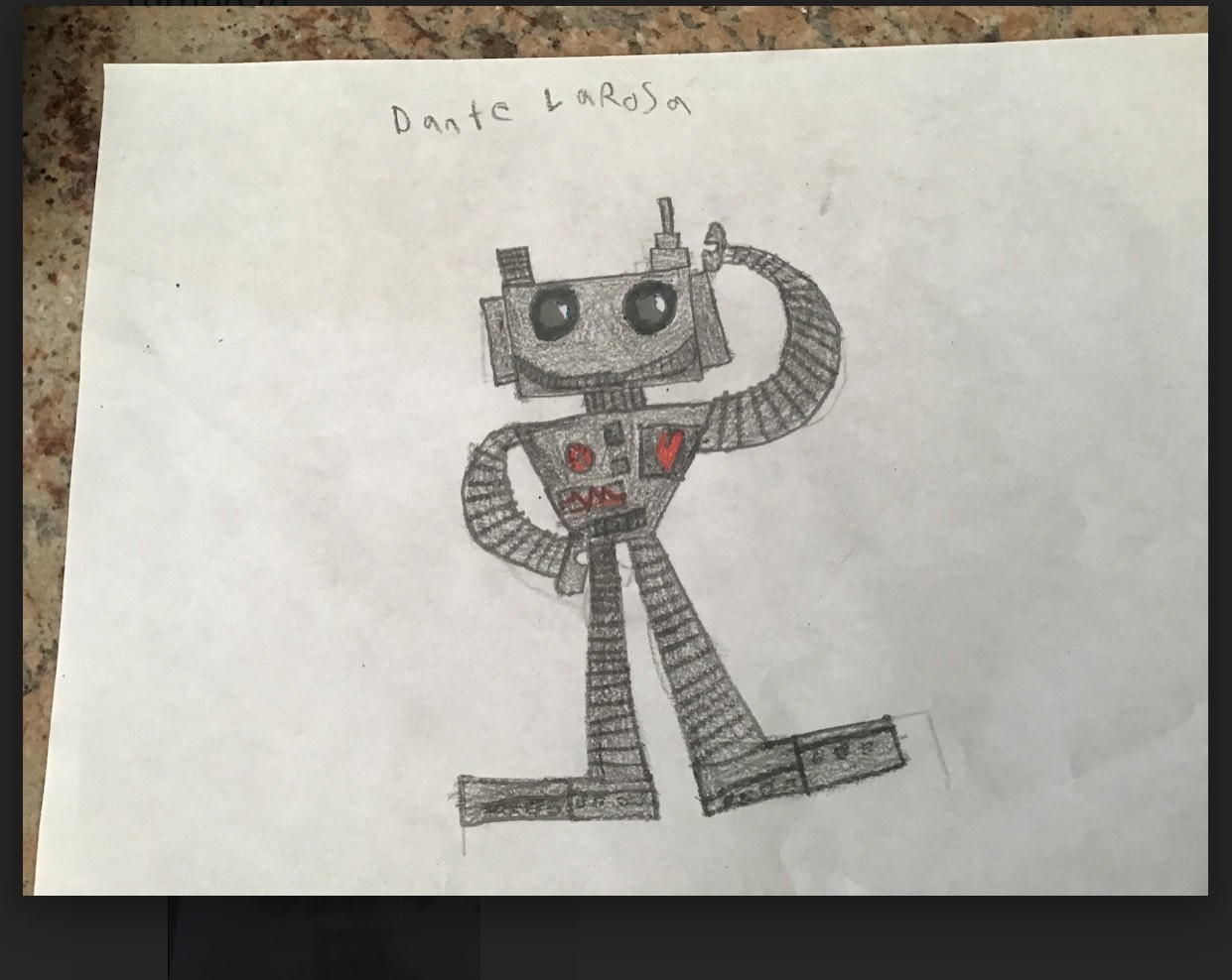 a silver robot drawing