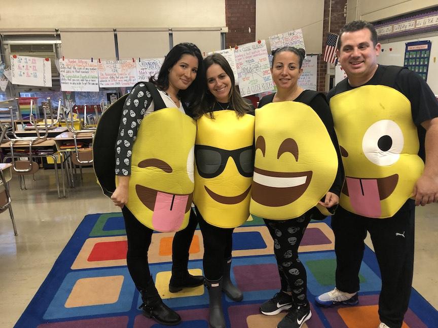 These 4 teachers are dressed like emojis