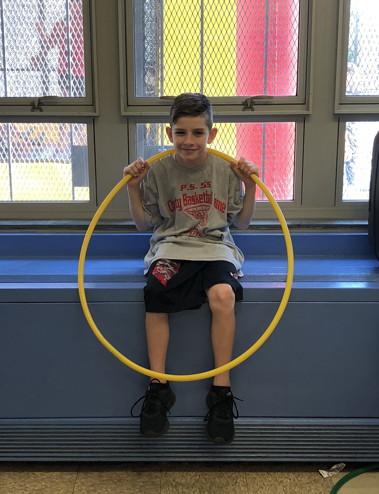 a 5th grader ready to play hula hoop