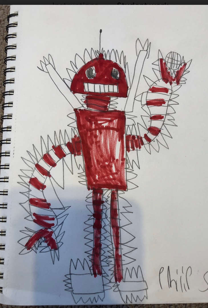 This is a picture of a red robot