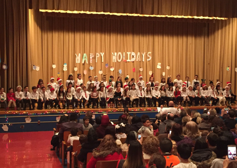 The third graders on stage