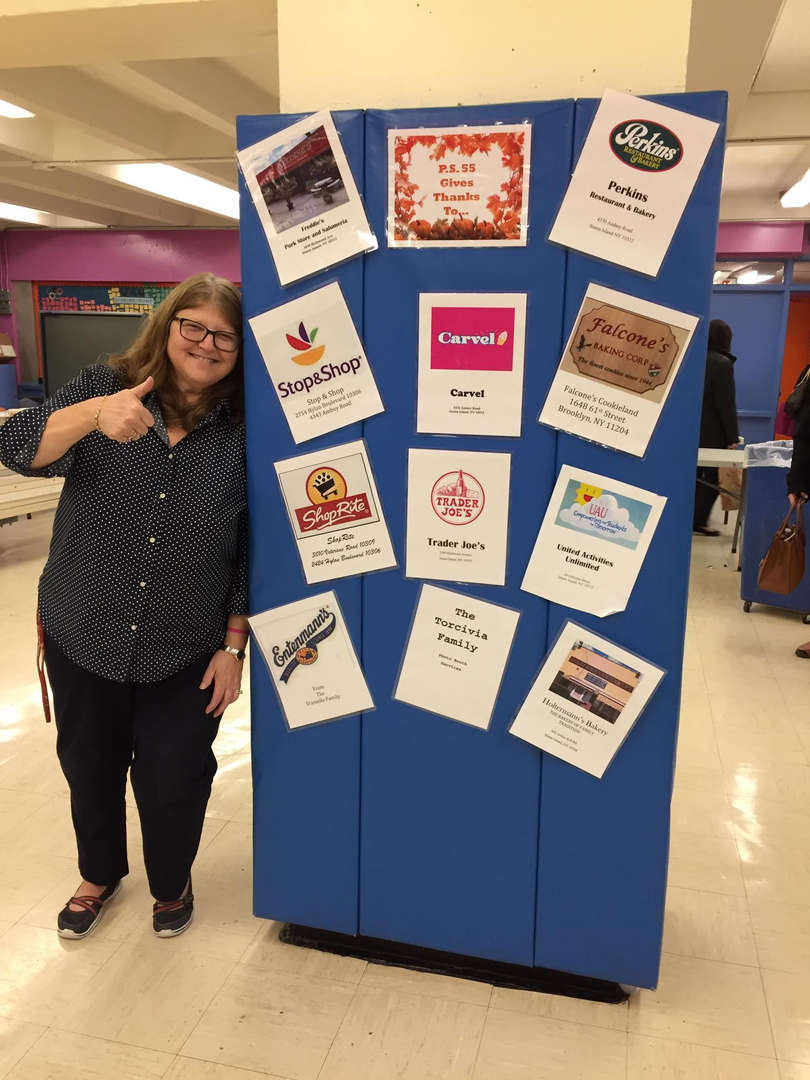 Ms. Fishman pointing out our sponsors
