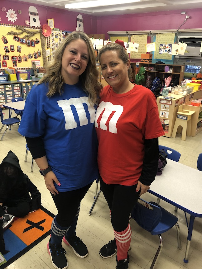 These 2 teachers are dressed like M&Ms